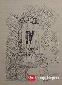 """Schizzo della pietra miliare """"Ad Quartum lapidem Campaniae viae"""", da Quarto flegreo. Origini, vicende e documenti di Fulvio Uliano."""